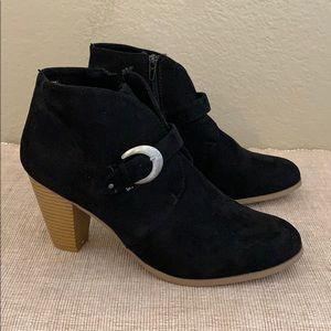 MAURICES Trina faux suede look 3.5 inch heel ankle